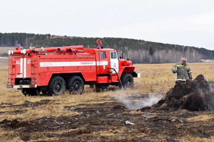 Сухая трава наплощади 200 кв. мгорела вЛысковском районе